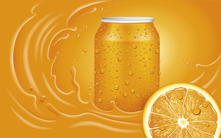 Orange juice can, slice and orange splash with many juice drops