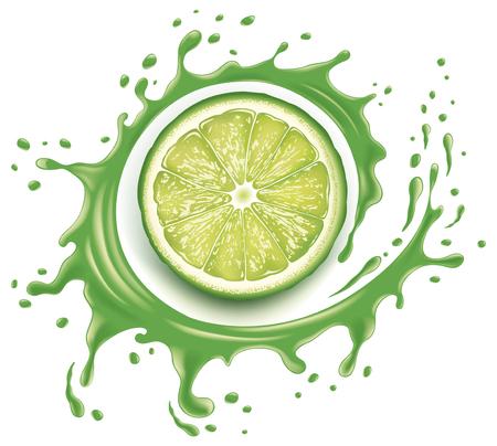 Splash de jugo verde con muchas gotas y rebanada de llme