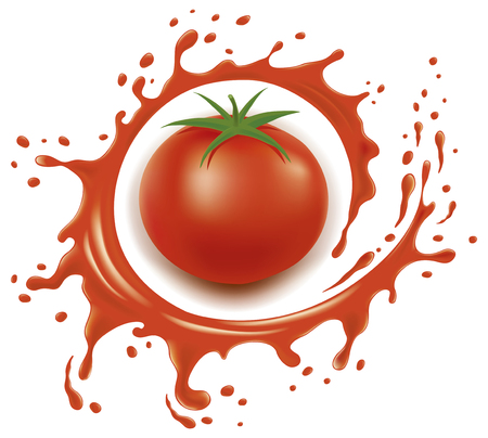 Red tomato with splash and many juice drops