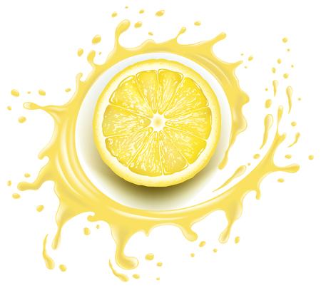 Yellow lemon slice with splash and many juice drops Ilustrace