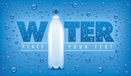 Blue background with many water drops and bottle