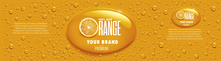 orange juice packaging with many juice drops
