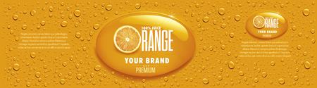 orange juice packaging with many juice drops Zdjęcie Seryjne - 107814173