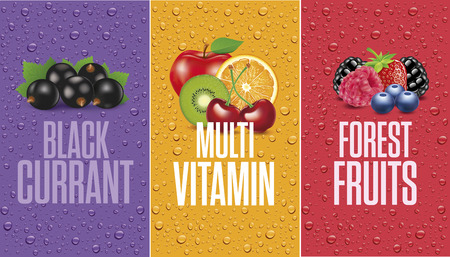 Black currant, forest fruit with many juice drops banner