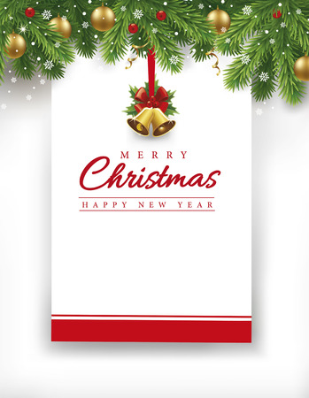 Merry Christmas Happy New Year card with traditional decorations Stock Illustratie