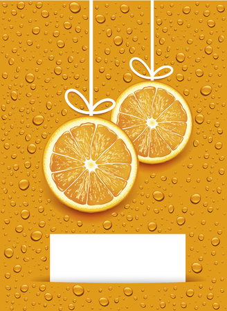 Christmas balls created by orange slices with many juice drops and place for your text Ilustracja