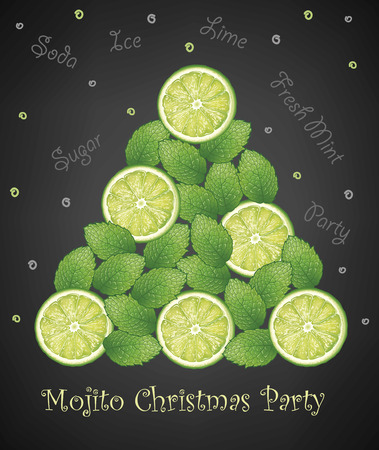 Mojito Christmas tree created by lot of mint leaves and lime slice