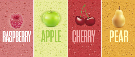Drinks and juice  with drops and raspberry, apple, cherry, pear
