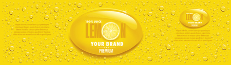 Yellow lemon juice packaging with lots of juice drops and lemon slice
