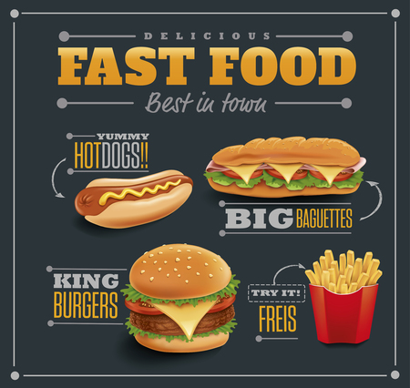 Fast food items-hamburger, fries, hotdog, baguette