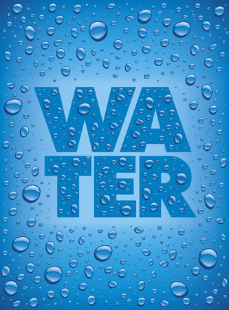 Many fresh water drops on blue Illustration