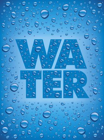 Viele Süßwassertropfen auf Blau