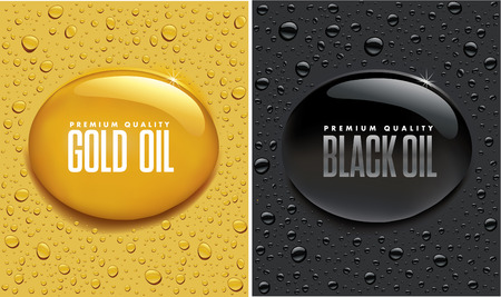 Oil Drops - Gold and Black Ilustracja