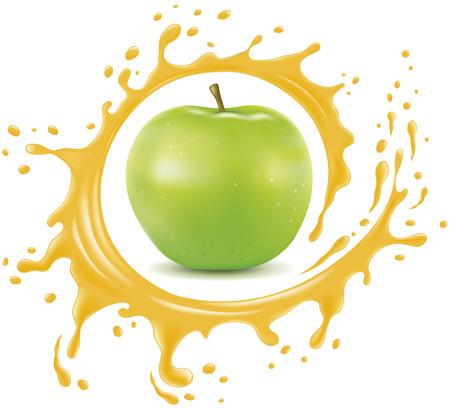 Frischer Apfel mit Spritzer und vielen Safttropfen