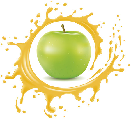 Fresh apple with splash and many juice drops