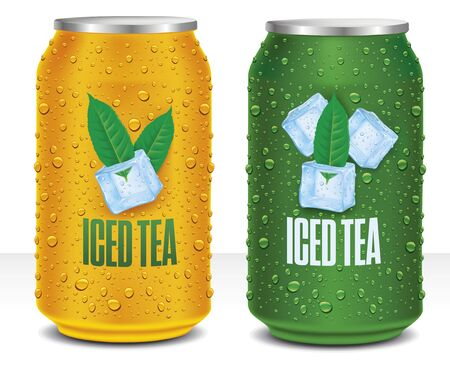 Ice tea tin can package with tea leaf illustration in ice cube and many fresh drops