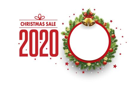 Merry christmas sale banner with place for text Ilustração