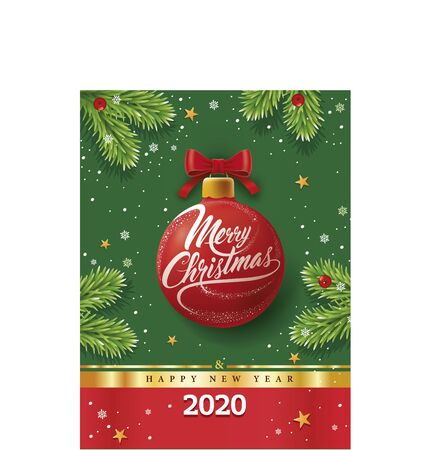 christmas greeting card with red ball, snowflakes on green background
