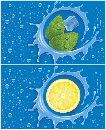 many water drops on blue background with water splash lemon slice, mint leaves and ice cube
