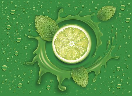 green background with water splash lime slice and mint leaves
