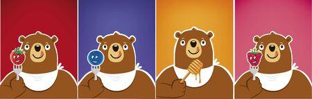 cartoon funny bear eating strawberry, honey, blueberry, raspberry Ilustracja