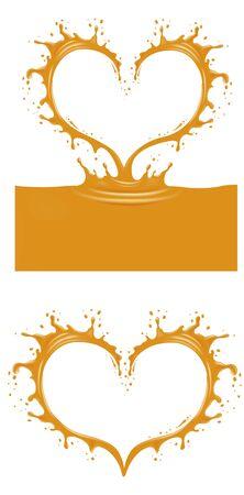 Orange splash heart shape isolated on white