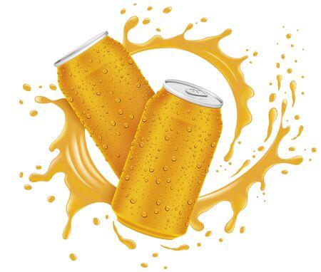 Orange juice can, splash with many juice drops Ilustracja