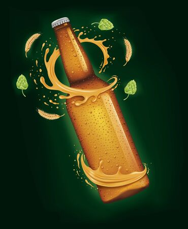 Beer bottle, blank label on green Ilustracja