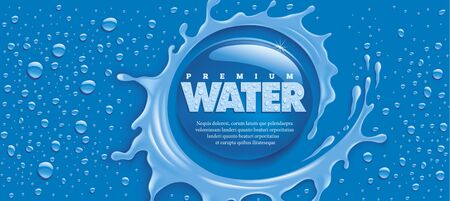 blue water splash with many drops and place for text Illustration