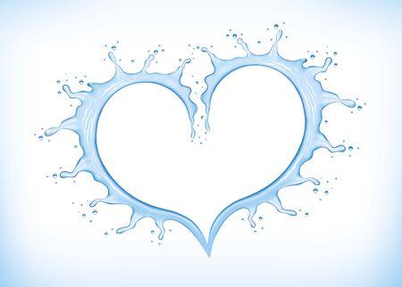 Blue water splash creating heart shape