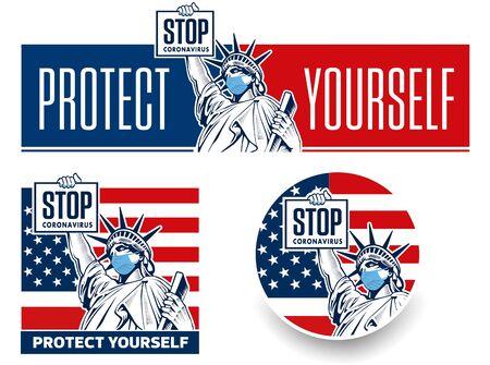 Stop coronavirus concept with Statue of Liberty Ilustracja