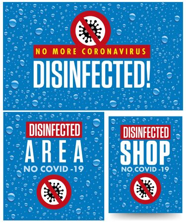 Warning sign, disinfected area from coronavirus COVID-19, blue  with water drops 矢量图像