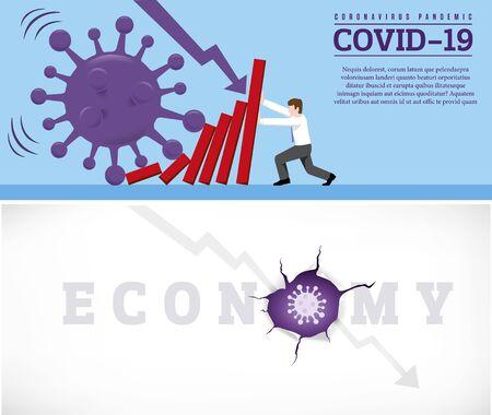 Coronavirus outbreak cause a domino effect on financial crisis. Zdjęcie Seryjne - 145882366