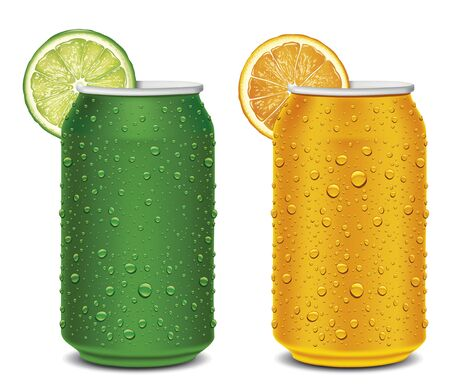 Lime and Orange juice can with many juice drops, fruit slices 矢量图像