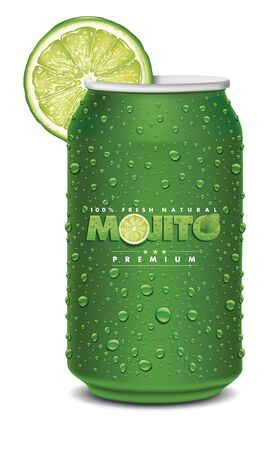 mojito juice can with many juice drops, lime slice