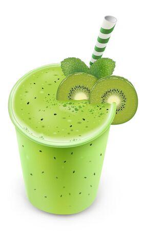 Fresh Kiwi smoothie drink with mint leaf