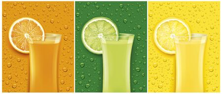 juice glass with fresh fruit slice and different color backgrounds with many juice drops Illustration