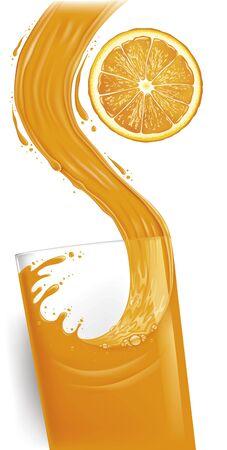 pouring a glass of orange juice creating splash, fresh orange slice