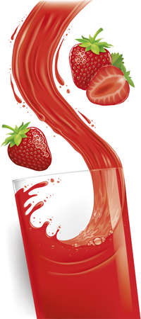 pouring a glass of strawberry juice creating splash, fresh strawberry fruit 矢量图像
