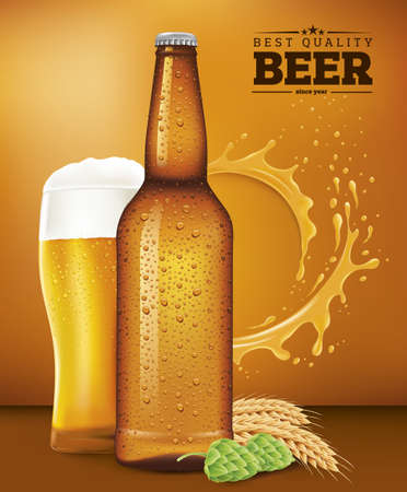 beer bottle and glass, splash  wheat and hop Illustration