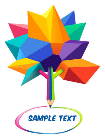 Multicolored Low poly model of tree, The trunk of a tree is made of a pencil