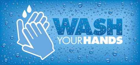 wash your hands-blue background with many water drops Standard-Bild - 153210070