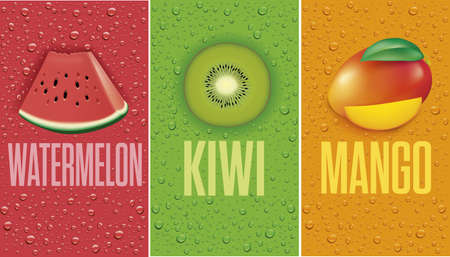 many fresh juice drops background with watermelon, kiwi, mango 矢量图像