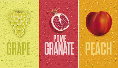 Drinks and juice background with drops and grape, pomegranate, peach
