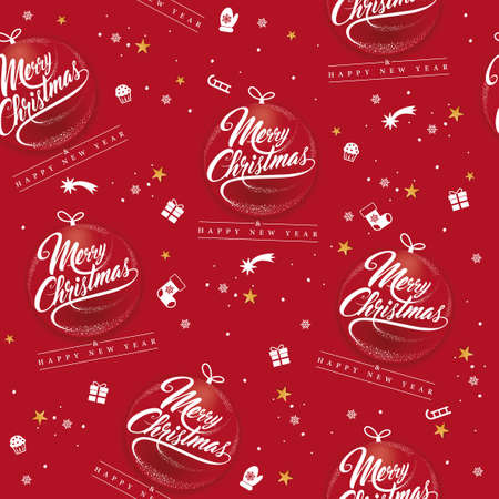 seamless christmas pattern with red background decorations, snowflakes, garlands