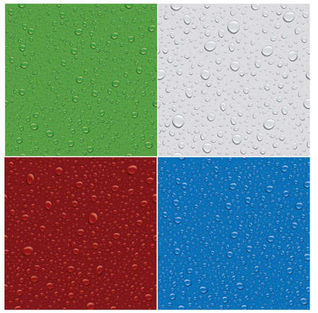 seamless patterns of many water drops on different color backgrounds Illusztráció