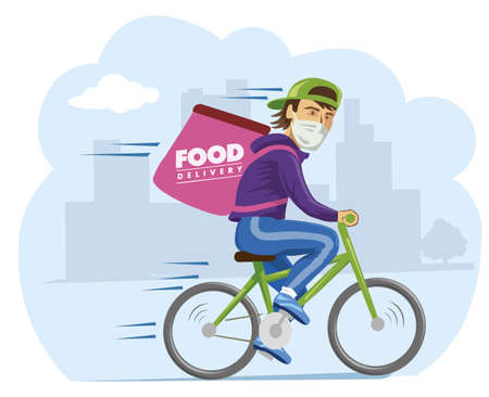 Online delivery service concept, food delivery to home and office. bicycle courier, delivery man in respiratory mask 스톡 콘텐츠 - 158291005