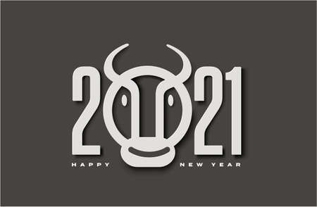 2021 Numerals Logo with Ox or Bull and Year of Ox Lettering Happy New Year Greeting Concept