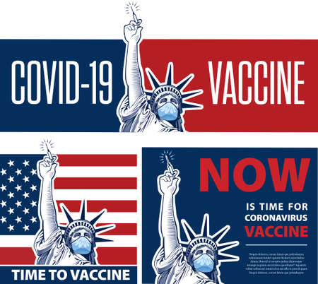 Statue of Liberty holding in hand vaccine for coronavirus. Vaccine for Covid-19 concep