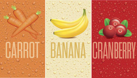 Drinks and juice background with drops and carrot, banana, cranberry